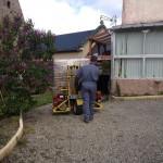 chariot embarqué pour la livraison de bûches de bois densifiées